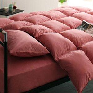 【ベッド専用】20色羽根布団8点セット ベッドタイプ・セミダブル ローズピンク