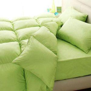 【ベッド専用】新20色羽根布団8点セット ベッドタイプ・ダブル ペールグリーン