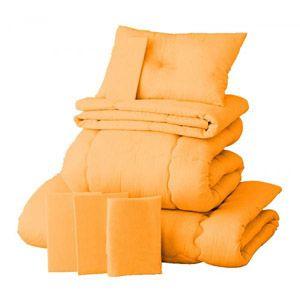 【ベッド専用】新20色羽根布団8点セット ベッドタイプ・ダブル サニーオレンジ