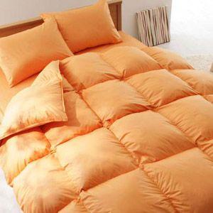 激安布団【ベッド専用】新20色羽根布団8点セット ベッドタイプ・キング サニーオレンジ