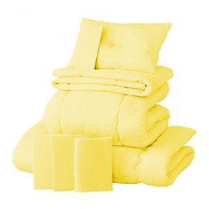 【ベッド専用】新20色羽根布団8点セット ベッドタイプ・シングル ミルキーイエロー