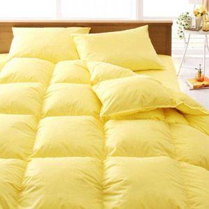 【ベッド専用】新20色羽根布団8点セット ベッドタイプ・セミダブル ミルキーイエロー