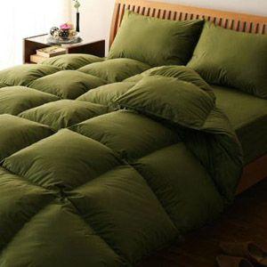 【ベッド専用】新20色羽根布団8点セット ベッドタイプ・ダブル オリーブグリーン