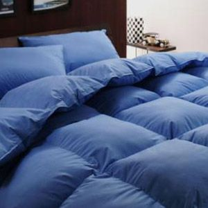 激安布団【ベッド専用】新20色羽根布団8点セット ベッドタイプ・キング アースブルー