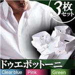 カラーステッチ ドゥエボットーニ ボタンダウンシャツ3枚セット ホワイト(ピンク・グリーン・ブルーステッチ) 【Fiesta フィエスタ CType】 L