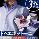 カラーステッチ ドゥエボットーニ ボタンダウンシャツ3枚セット カラー(ホワイト・レッド・ブルーチェック) 【Giorno ジョルノ BType】 L