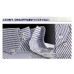 カラーステッチ ドゥエボットーニ ボタンダウンシャツ3枚セット ストライプ(ネイビー・ブルー・クリアブルーステッチ) 【Fresco フレスコ BType】 S