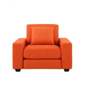 20色から選べる!カバーリングソファ 【LeJOY】リジョイ ワイドタイプ 1人掛け ジューシーオレンジ(ツイード調タイプ) 脚:ダークブラウン