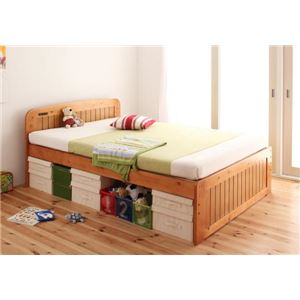 すのこベッド ダブル【Fit-in】ライトブラウン 高さが調節できる!コンセント付き天然木すのこベッド【Fit-in】フィット・イン