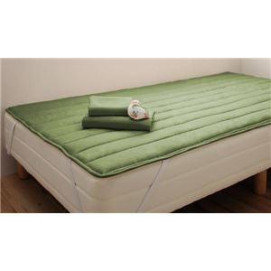 マットレスベッド セミシングル 脚15cm オリーブグリーン 新・ショート丈ポケットコイルマットレスベッド