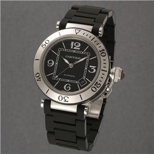 Cartier (カルティエ) ユニセックスウォッチ W31077U2 パシャ シータイマー ブラック SSラバー