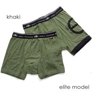elite model メンズボクサーパンツ 2枚セット MS6001 カーキ M