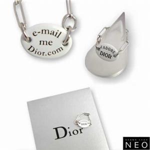 01クリスチャンディオール/Christian Dior D80645 プレート リング/シルバー×ホワイト