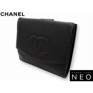 CHANEL シャネル A13496BK キャビアスキン<br>Wホック 2つ折り 財布 ブラック