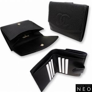 CHANEL シャネル A13496BK キャビアスキン Wホック 2つ折り 財布 ブラック