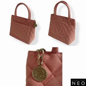 Chanel(シャネル) A01804PK キャビアスキン トートバッグ ピンク
