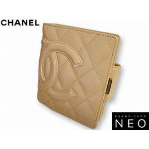 CHANEL シャネル A26720 (E) BE がま口 財布<br>カンボンライン×エナメル  ベージュ 新品