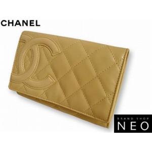 CHANEL シャネル A26722 E/BE カンボン 2つ折り 財布 ベージュ