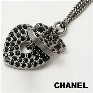Chanel(シャネル) ラインストーンハート & ココマークネックレス A37892/BK