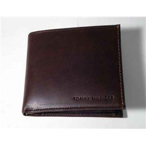 トミーヒルフィガー 4611-02 D.BR 2つ折小銭入れ付き 財布 ダークブラウン TOMMY HILFIGER