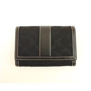 COACH(コーチ)ハンプトンズシグネチャー 40199 B4/BK コンパクトクラッチ ジップ ウォレット 2つ折財布 ブラック