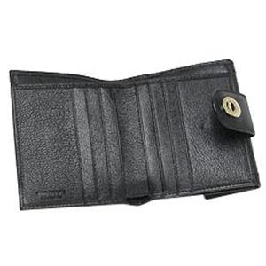 01ブルガリ/BVLGARI 25215 ドッピオトンド ダブルホック財布/ブラック×ゴールド
