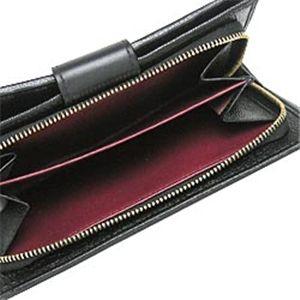 02ブルガリ/BVLGARI 25265 ドッピオトンド 二つ折り中財布/ブラック×ゴールド