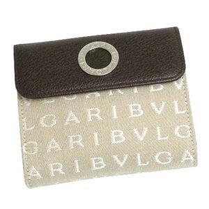 BVLGARI ブルガリ 25129 LETTERE レターレ ダブルホック財布 ベージュ×ダークブラウン×シルバー