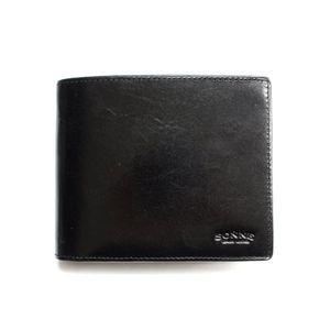 SONNE(ゾンネ)2つ折り小銭入付財布 レザー SOC012N/LEATHER/BLK ブラック