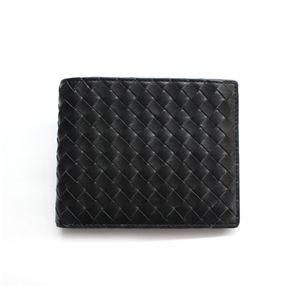 SONNE(ゾンネ)2ッ折財布(小銭入れ無し)イントレチャート SOI009/BLK ブラック