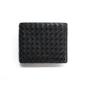 SONNE(ゾンネ)2ッ折財布(小銭入れ無し)イントレチャート SOI010/BLK ブラック