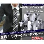 モノトーン系!タイトフィット形態安定ワイシャツ&ネクタイ10点セット サイズL/86【50227+10423】