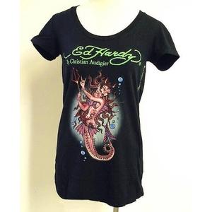ED HARDY(エドハーディー) Tシャツ W02 167 99Devil Mermaid Black S Vネックタイプ