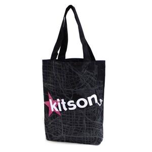 KITSON(キットソン) KHB0168 ロゴ ショッピングエコ トートバッグ ブラック×ホワイト
