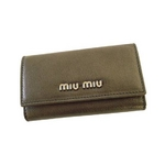 MIUMIU(ミュウミュウ) MIUMIU 5M0222 PIOMBO MORDORE' 6連キーケース メタリックグレー