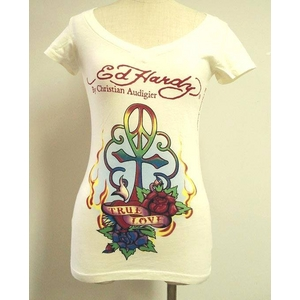 ED HARDY(エドハーディー) Tシャツ W02 297 13Peace Cross Off White S