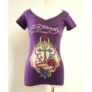 ED HARDY(エドハーディー) Tシャツ W02 297 93Peace Cross Purple XS