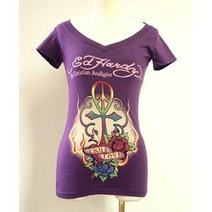 ED HARDY(エドハーディー) Tシャツ W02 297 93Peace Cross Purple S