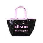 KITSON(キットソン) トートバッグ 0 SEQUIN MINI TOTE ミニスパンコール 2009新作 ブラック×ピンク(3554)