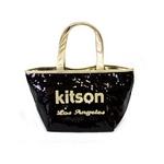 KITSON(キットソン) トートバッグ 0 SEQUIN MINI TOTE ミニスパンコール 2009新作 ゴールド×ブラック(3563)