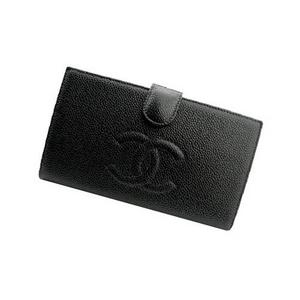 CHANEL A13498BK キャビアスキン がま口 長財布 シルバー金具