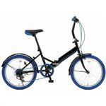 20インチ 折り畳み自転車カラータイヤモデル外装6段変速付 GFD-206TBL ブルー