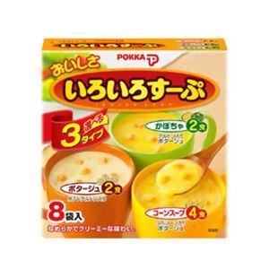 ポッカ おいしさいろいろすーぷ コーンスープ・ポタージュ・かぼちゃ 3種8袋【10セット】