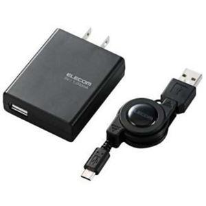 エレコム スマートフォン用充電器 巻き取り式microUSBケーブル付(約0.7m) ブラック MPA-ACURCBK