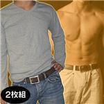Vネックインナーマッスルシャツ(長袖)【同色2枚組】 グレー M