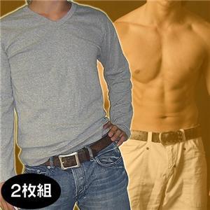 Vネックインナーマッスルシャツ(長袖)【同色2枚組】 ブラック L