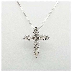 K18ダイヤモンドクロスペンダント ホワイトゴールド