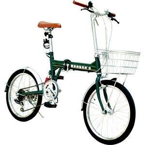 20インチ折畳み自転車 ヘブンズ シマノ6段変速モデル グリーン