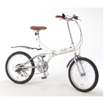 20インチ折畳自転車 グローイングフラット ツヤ消しカラー/ホワイト + 自転車アクセサリー4種セット 18,900円