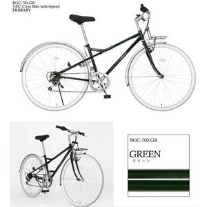 PRIMARY(プライマリー) 6段変速 クロスバイク BGC-700-GR グリーン+折りたたみバスケット+ワイヤーロック+LEDライト